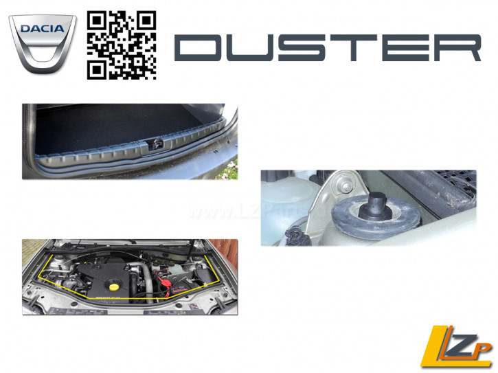 Dacia Duster Ladekantenschutz innen + Motorhaubendichtung und Domelagerkappen