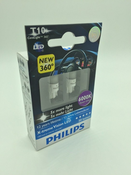 Philips LED W5W (T10) White Light X-treme Vision 6000K 2er Set