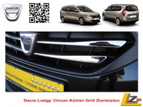 Dacia Lodgy Chrom Kühler Grill Zierleisten Satz 4-Teilig Edelstahl Poliert