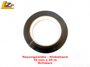 Rayongewebe - Klebeband 19mm x 25m Schwarz