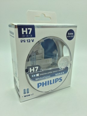 Original Philips White Vision H7 Xenon Effect Lampen + 2x W5W Standlicht Duo Box
